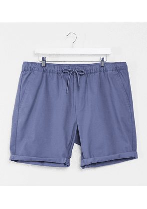 ASOS DESIGN Plus slim chino shorts with elastic waist in blue