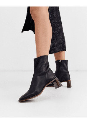 Topshop leather heeled boots with square toe in black