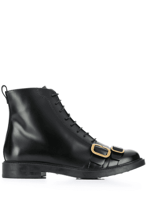 Tod's lace up ankle boots with buckle detailing - Black