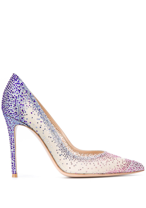 Gianvito Rossi embellished pointed toe heels - Blue