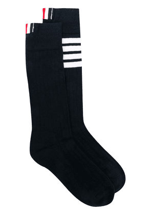 Thom Browne logo stripe socks - Blue