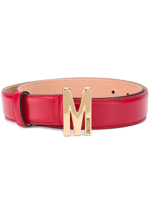 Moschino M logo plaque belt - Red
