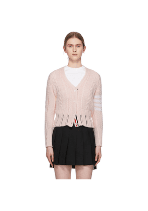 Thom Browne Pink Aran Cable 4-Bar Cardigan