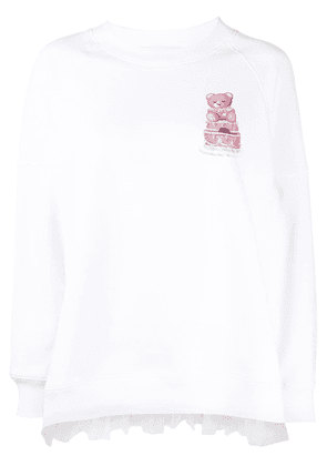 Moschino teddy bear-print long-sleeved top - White