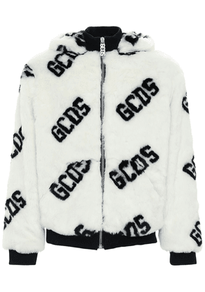 All Over Logo Faux Fur Jacket W/hood