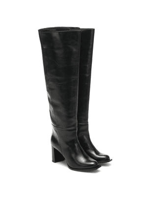Sporty Elegance leather knee-high boots