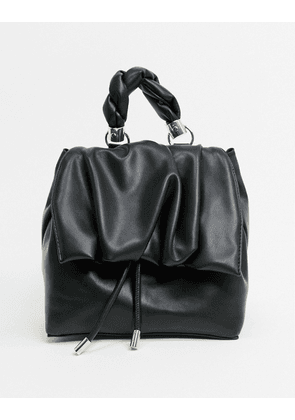 Topshop ruched flap backpack in black