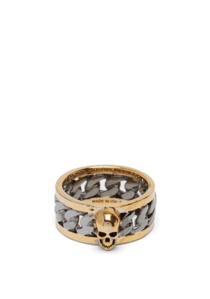 Alexander Mcqueen - Skull Curb-chain Ring - Mens - Silver Gold