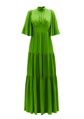 Andrew Gn - Tiered Silk-satin Gown - Womens - Green