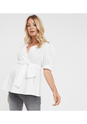 ASOS DESIGN Maternity short puff sleeve wrap top in ivory-White