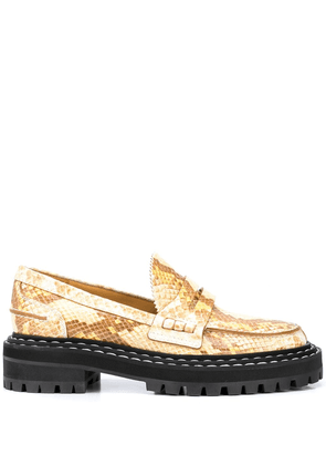 Proenza Schouler python-effect lug sole loafers - Brown