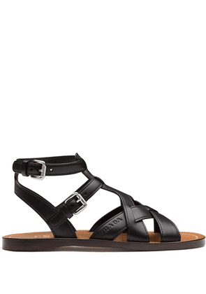 Prada flat leather sandals - Black