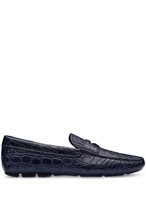 Prada crocodile-effect penny-slot loafers - Blue
