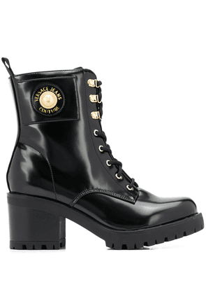 Versace Jeans Couture lace-up block heel boots - Black