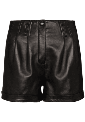 Saint Laurent pleated leather shorts - Black