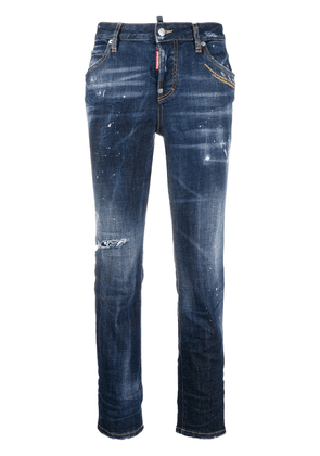 Dsquared2 distressed slim-fit crop jeans - Blue