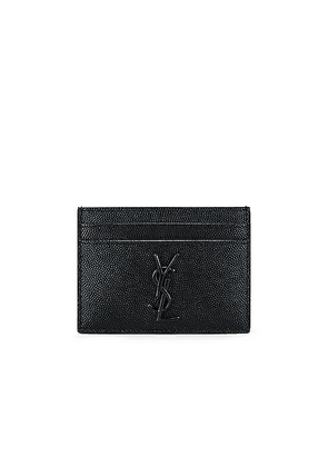 Saint Laurent Monogram Credit Card Holder in Black - Black. Size all.