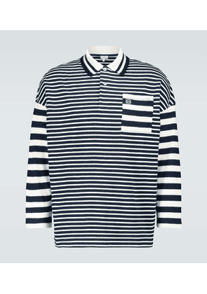 Striped long-sleeved polo shirt