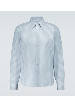 Striped long-sleeved cotton shirt