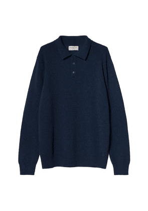 Blue Midweight Cashmere Polo Knit