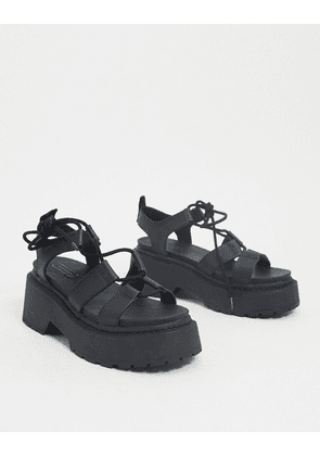 Topshop lace-up flatform sandals in black