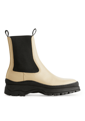 Chunky-Sole Leather Boots - Yellow