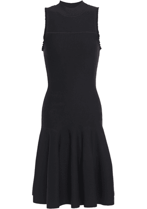 Carven Flared Ruffle-trimmed Stretch-knit Dress Woman Black Size L