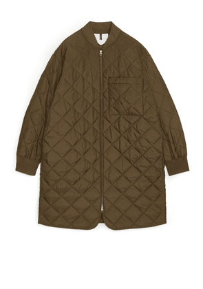 Quilted Long Jacket - Brown