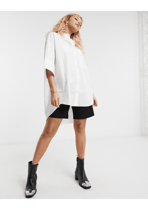 Topshop oversized poplin shirt in white