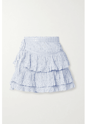 LoveShackFancy - Bara Lace-trimmed Tiered Floral-print Cotton-voile Mini Skirt - Light blue