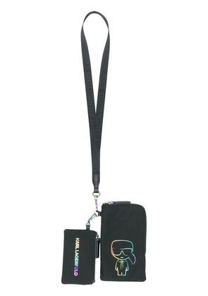 Karl Lagerfeld embroidered Karl pouch lanyard - Black