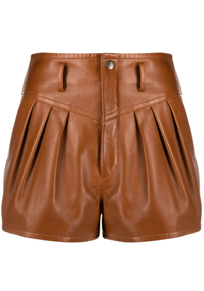 Saint Laurent high-rise pleated leather shorts - Brown