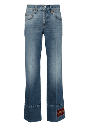 Gucci logo patch flared jeans - Blue