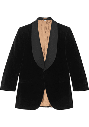 Gucci contrast lapel velvet jacket - Black