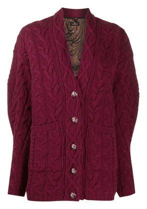Etro cable-knit cardigan - PINK