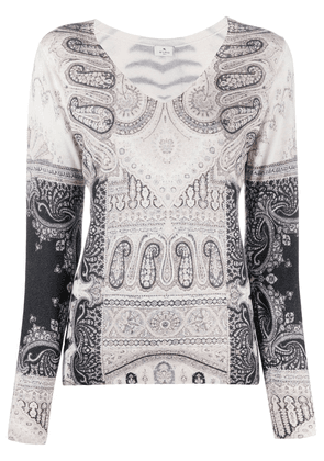 Etro print mix fitted jumper - White