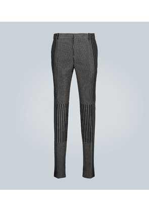 Patchwork pinstriped pants