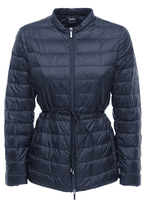 Belted Nylon Zip-up Down Jacket
