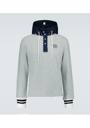 Striped hooded polo sweater