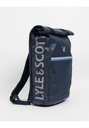 Lyle & Scott roll top backpack-Navy