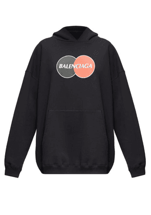 Balenciaga - Logo-print Cotton-jersey Hooded Sweatshirt - Womens - Black