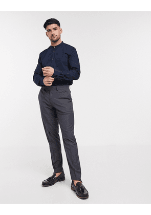 French Connection plain grandad collar shirt in slim fit-Navy