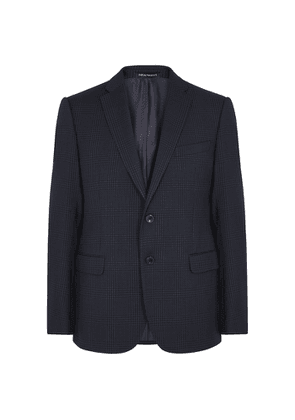 Emporio Armani Navy Checked Stretch-wool Blazer