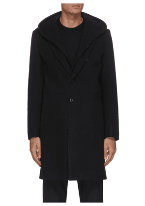 Double layer single breast hood wool cashmere blend coat