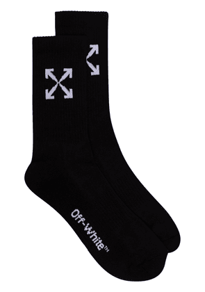 Off-White arrow detail sport socks - Black