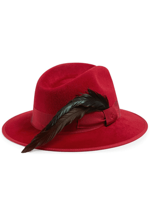 Gucci feather-embellishment fedora hat - Red