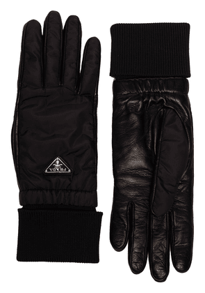 Prada reversible cashmere and leather gloves - Black