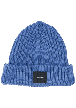 Off-White logo patch beanie hat - Blue