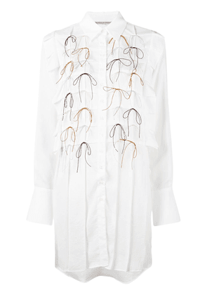 Marco De Vincenzo pleated bow shirt dress - White