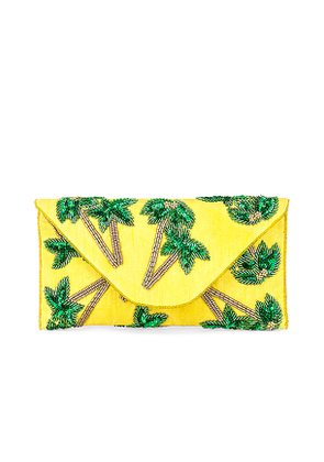 From St Xavier Tropical Envelope Clutch in Yellow.